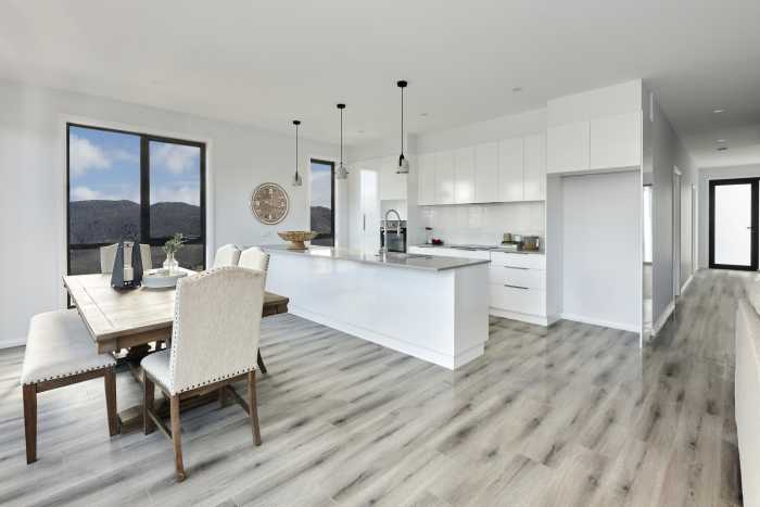 Open plan living with granite bench top in modular home