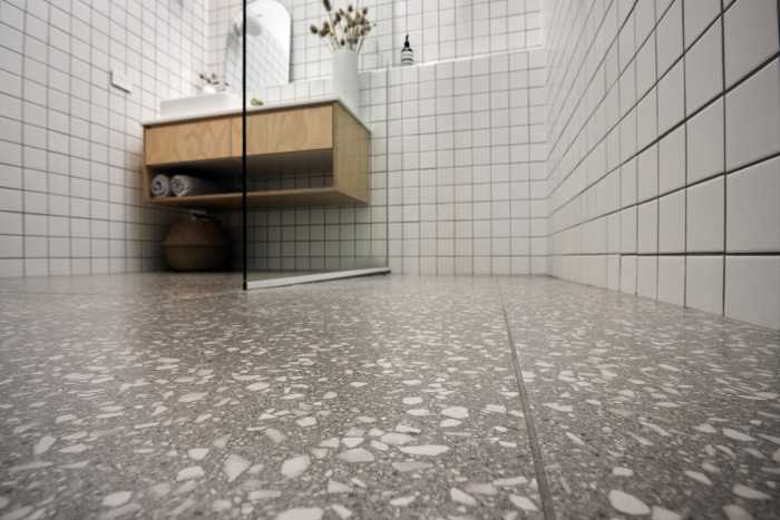Tiled floor in modular home