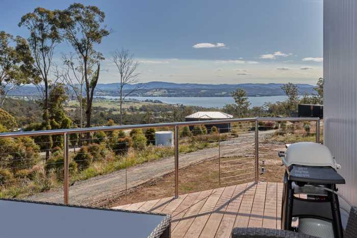Deck of modular home overlooking Swan Bay