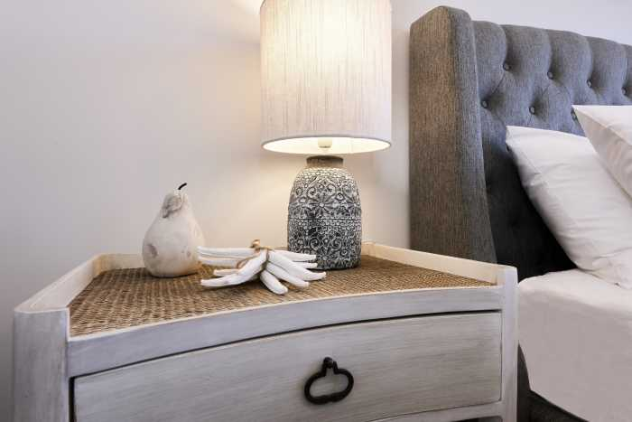 Bedside table inside modular tasbuilt home