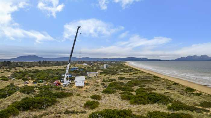 Crane Lifts Modulars into Place at Dolphin Sands