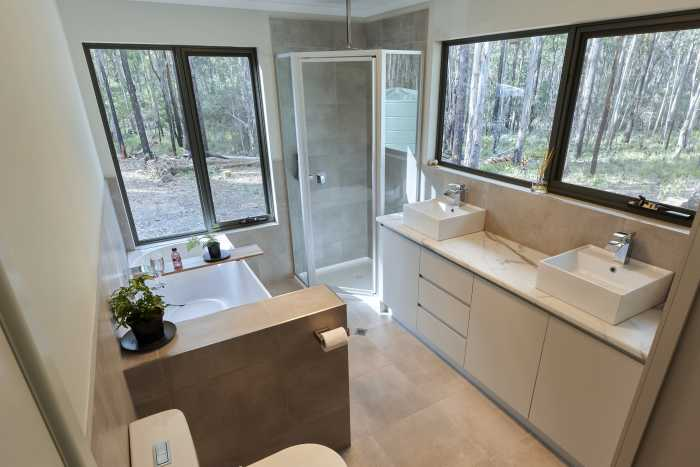 Large Modern Bathroom with Privacy Wall