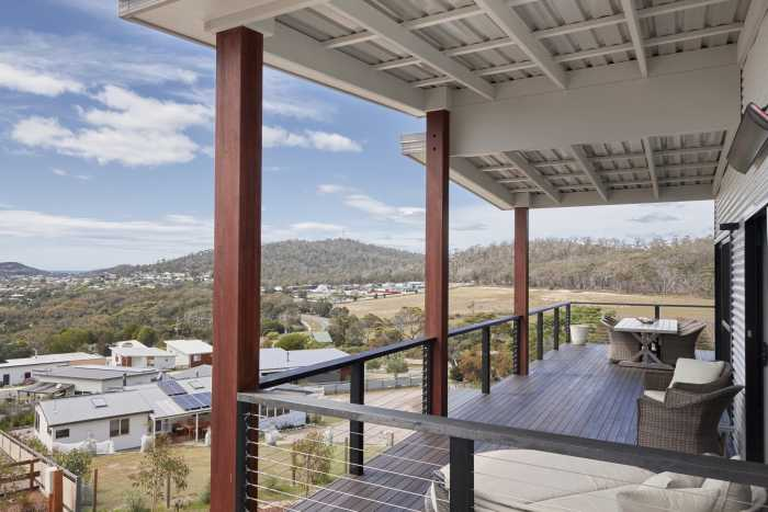 Large stained timber verandah