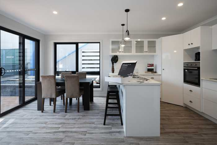 Tassie Build Expo Display Home Kitchen and liviing area white