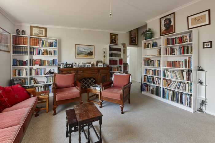 Living Area and Library in Modular Home