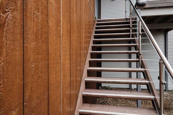 Timber stairs near timber cladding