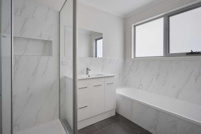 White and grey marble tiles at Waterhouse