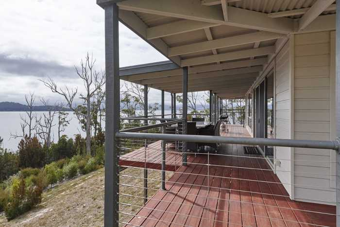 Verandah with water views Hobart