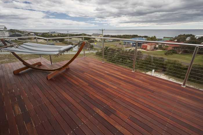 Views from large jarrah deck at Bellbuoy Beach