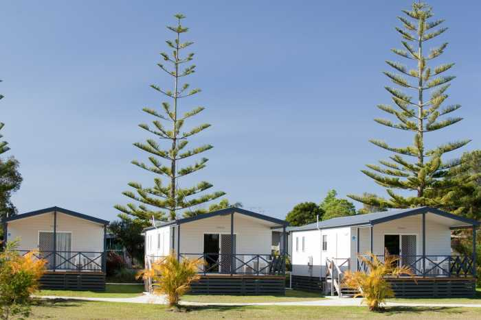 Beachside holiday cabins
