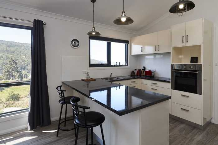 Modern black and white kitchen Hobart