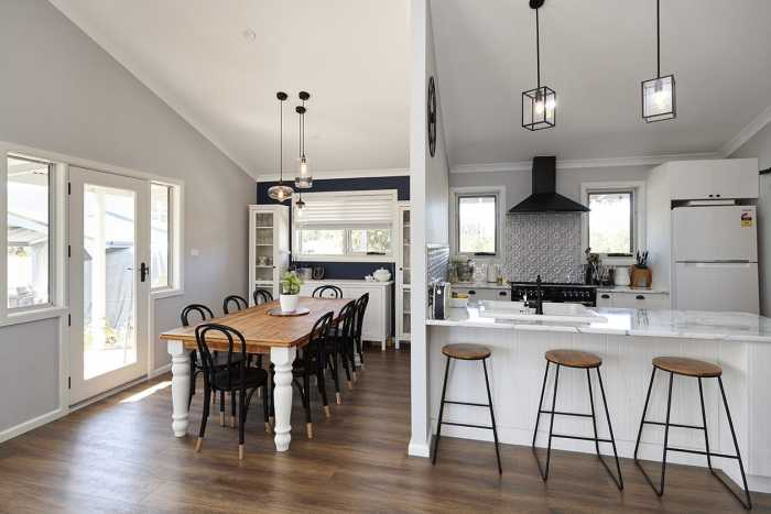 country style kitchen with pendant lights in Hobart